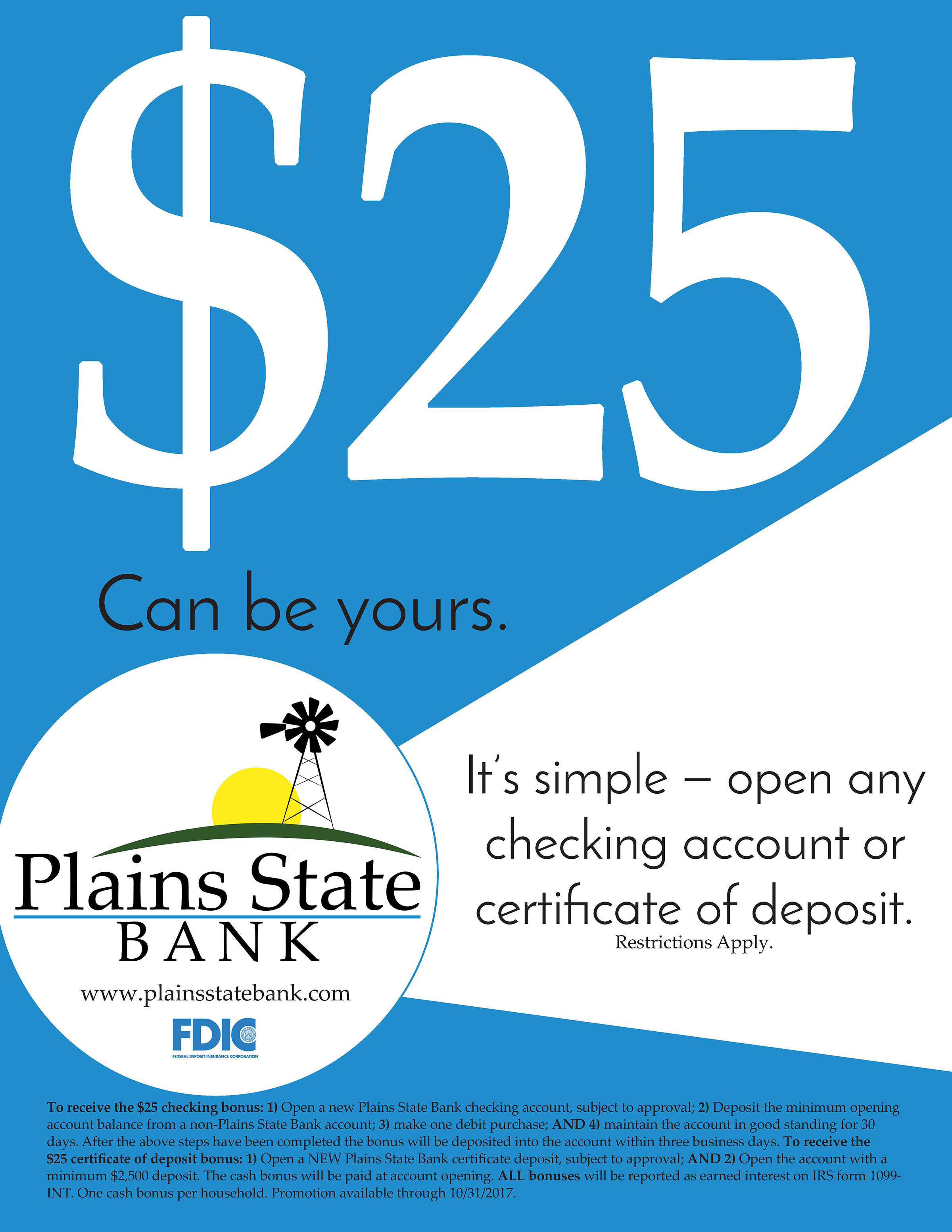 Received $25 for new checking account or CD. Restrictions Apply.